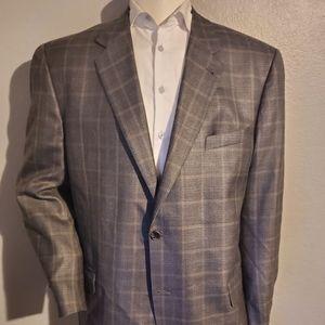 Joseph Abboud Plaid Silk & Wool Sport Coat 46 Long